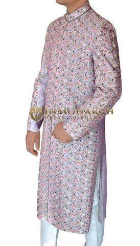 Mens Lavender Maharaja 2 Pc Sherwani Ethnic Designer