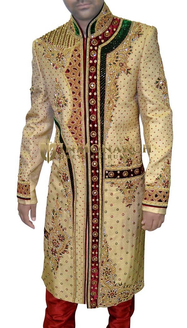 Mens Light Yellow 2 Pc Sherwani Cut Work