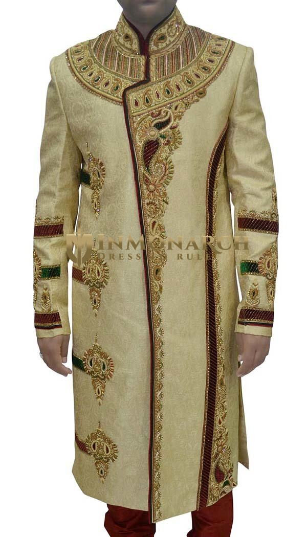 Mens Light Yellow 2 Pc Sherwani Designer