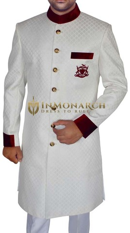 Mens White 2 Pc Sherwani Marvelous Work