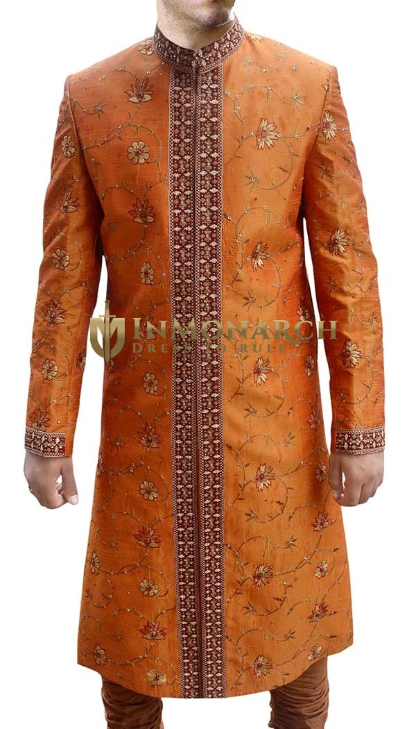 Mens Rust 2 Pc Sherwani Wonderful Threading