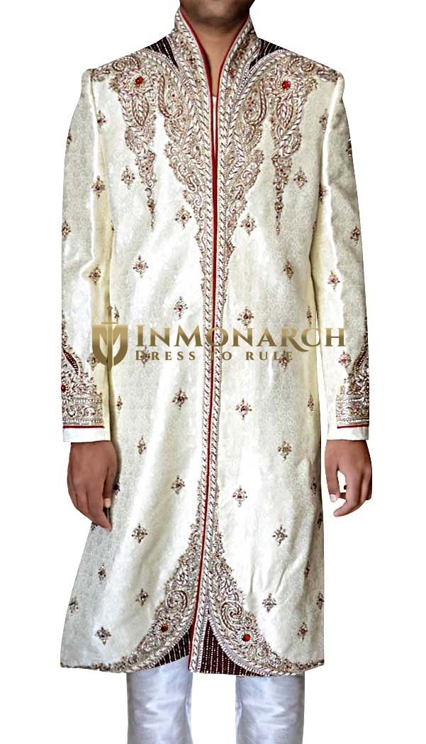 Mens Cream 2 Pc Wedding Sherwani Stunning