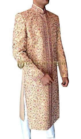 Mens Peach 2 Pc Sherwani Beautiful Designer