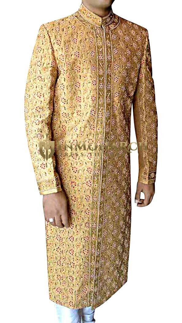 Mens Golden 2 Pc Wedding Sherwani Surpassing