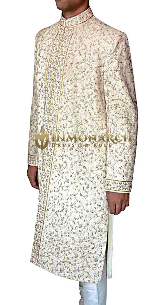 Mens Cream 2 Pc Groom Sherwani Eminent