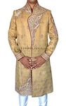 Mens Golden 2 Pc Sherwani Famous