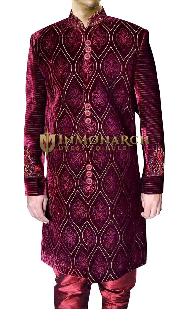 Mens Maroon 2 Pc Designer Sherwani Bollywood