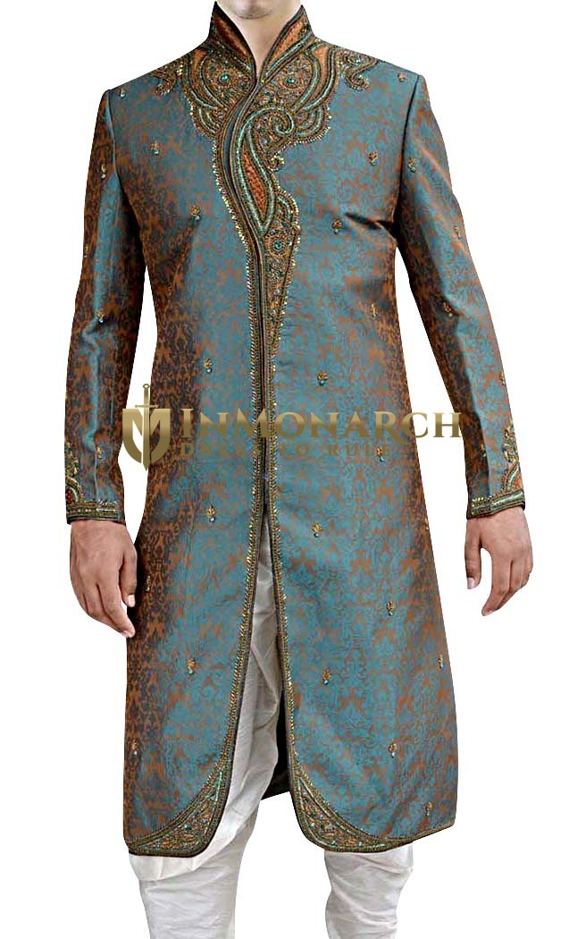 Mens Teal 2 Pc Indian Wedding Sherwani