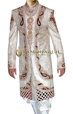 Mens Cream 2 Pc Groom Sherwani Heavy Work