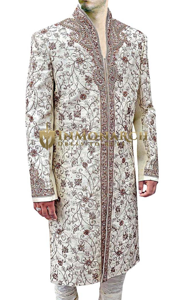Mens Cream 2 Pc Sherwani Designer High Neck
