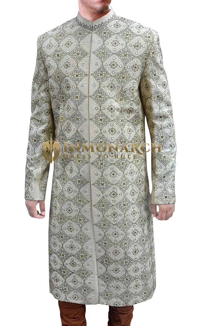 Mens Silver Brocade 2 Pc Sherwani Decent