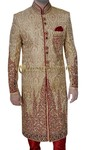 Mens Golden 3 Pc Wedding Sherwani Embroidered