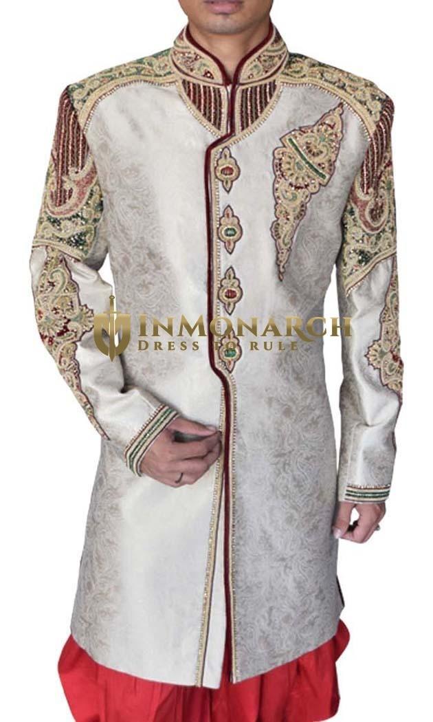 Mens Cream 2 Pc Wedding Sherwani Traditional