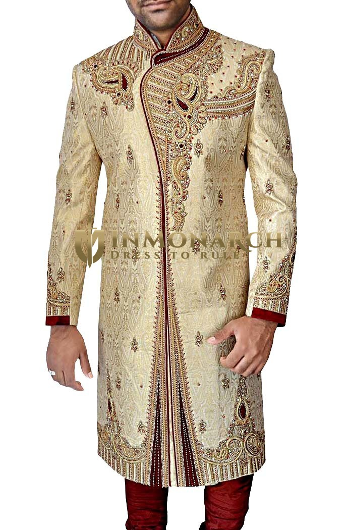 Mens Golden 2 Pc Wedding Sherwani Superlative