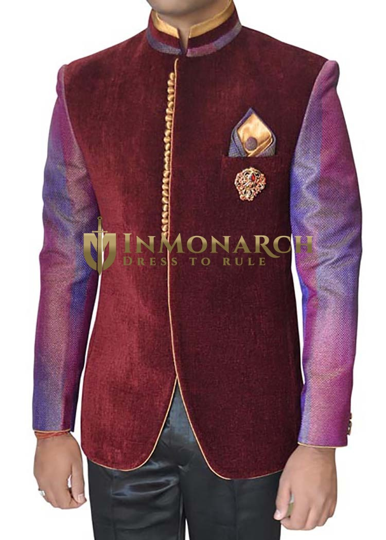 Mens Maroon 4 pc Jodhpuri Suit Concealed Button