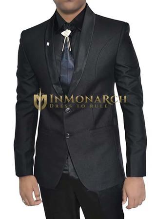 Mens Black Polyester 5 pc Tuxedo Suit Two Button