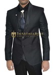 Mens Black Polyester 5 pc Tuxedo Suit Two Button