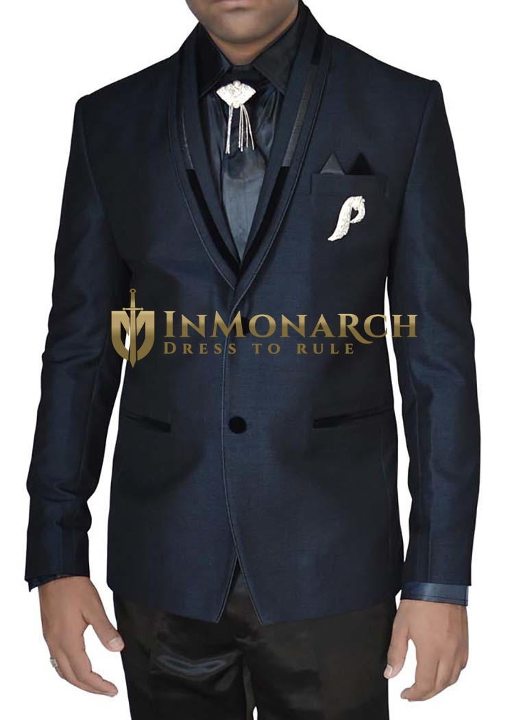 Mens Navy blue 7 Pc Wedding Tuxedo Suit