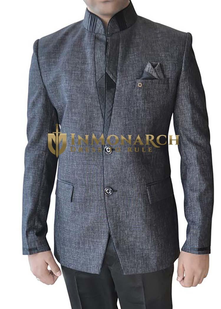 Mens Gray 3 pc Jodhpuri Suit Two Button
