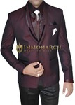 Mens Wine 7 Pc Tuxedo Suit Polyester
