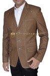 Mens Brown Blazer Stylish 3 Button Designer Work
