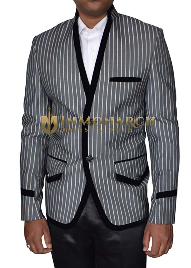 Mens Gray Blazer Mandarin Standup V-Neck 2 Button