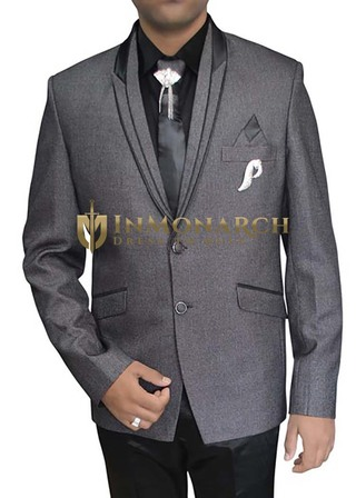 Mens Gray Polyester 7 pc Tuxedo Suit Peak Lapel