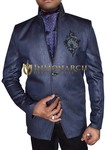 Mens Navy Blue Blazer Embroidered Groomsmen