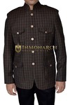 Mens Brown Tweed Wool Nehru Jacket Safari 4 Pocket