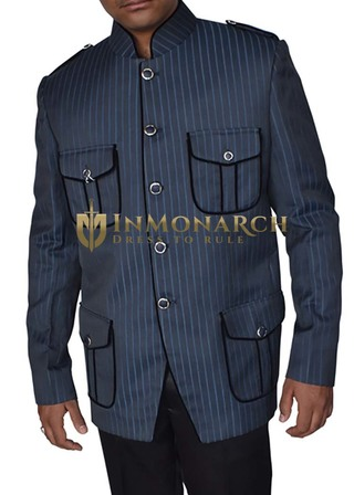 Mens Navy Blue Jacket Mandarin Collar Dinner