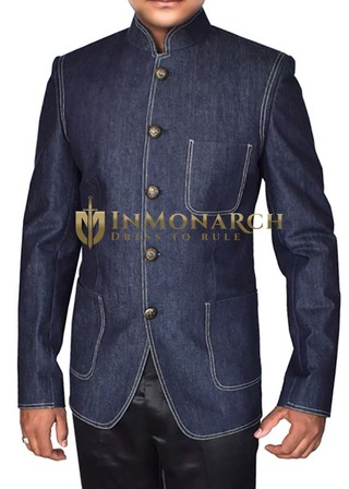Mens Denim Blue Cotton Blazer Mandarin Collar