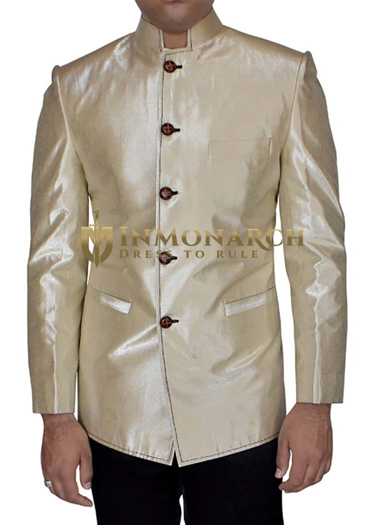 Mens Beige Band collar Blazer for Partywear