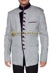 Mens Light Gray Blazer Designer Button Band Collar