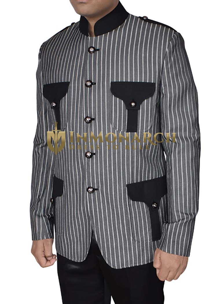 Mens Gray Blazer Superb Lining Flap-Pockets Pinstripe