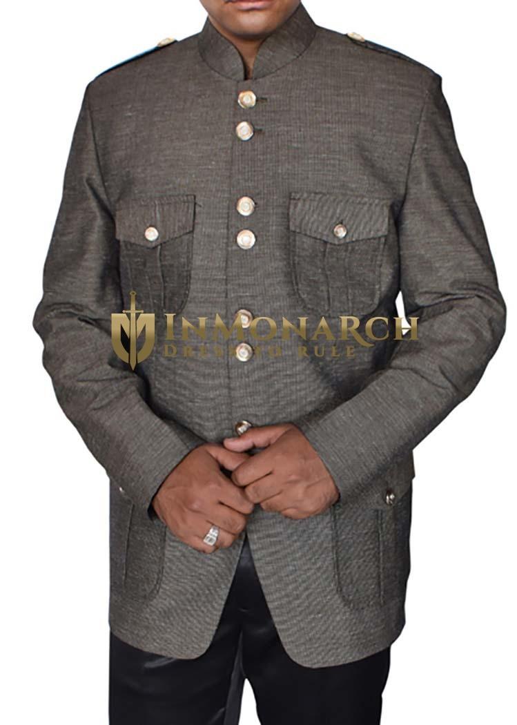 Mens Gray Nehru Collar Jacket Classic Flap-Pockets