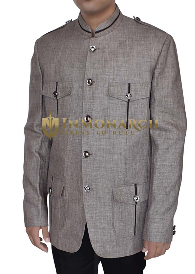 Mens Almond Jacket 5 Button Nehru Banded Collar Style