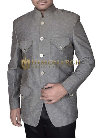 Mens Gray Nehru Jacket Classic Fit 4 Flap Pockets