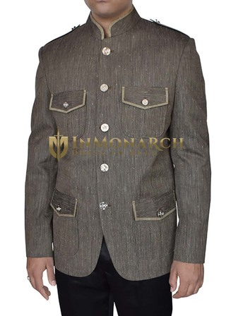 Mens Dim Gray Nehru Collar Jacket 5 Button