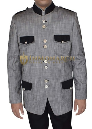 Mens Gray Mandarin Collar Jacket Fashion Outfits
