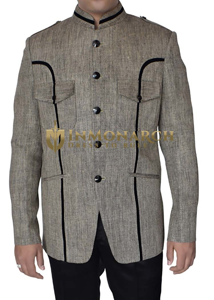 Mens Light Gray Blazer Traditional Look