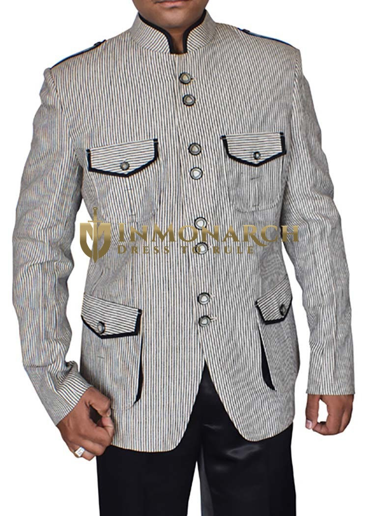 Mens Black and White Lining Jacket Designer