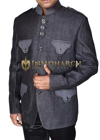 Mens Dark Gray Blazer Shoulder Epaulettes Safari Style