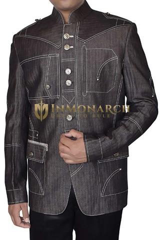 Mens Light Gray Mandarin Collar Blazer Thread Work