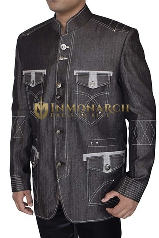 Mens Gray Mandarin Blazer Threading Pattern
