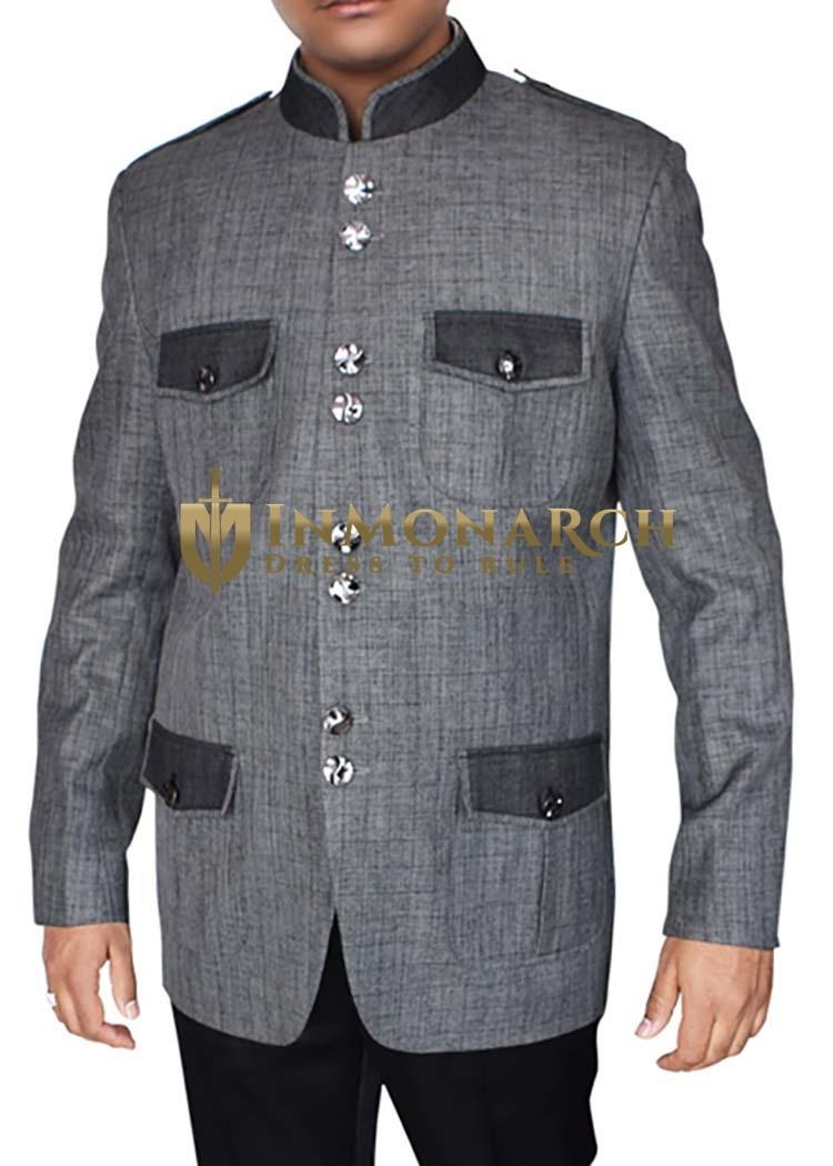 Mens Gray Jodhpuri Blazer Patch Work