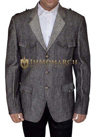 Mens Gray Linen Blazer Safari Notched Lapel