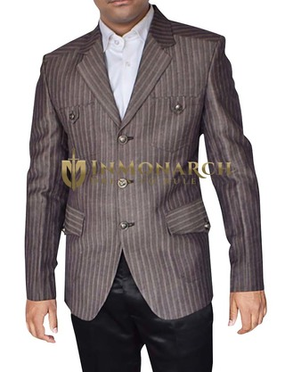 Mens Brown Blazer Partywear Notch Lapel