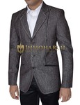 Mens Gray Polyester Blazer Slim-Fit 3 Button