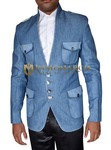 Mens Sky Blue Jacket Party Wear Trendy Slim-Fit