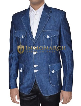 Mens Linen Denim Blue Blazer Open Neck